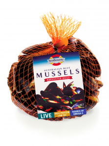 SeaBounty 1kg live mussels bag