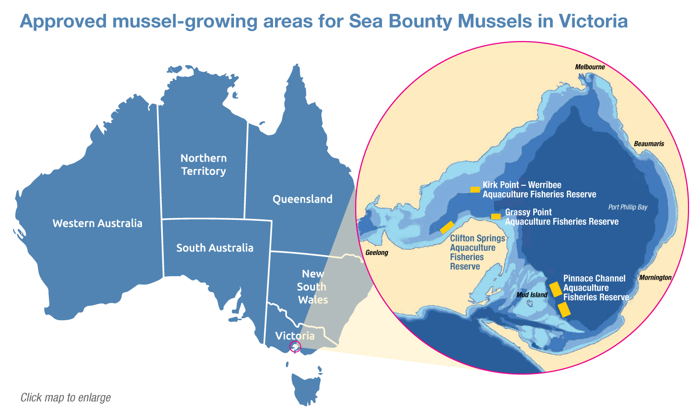 Location of SeaBounty mussel farms in Port Phillip Bay Victoria